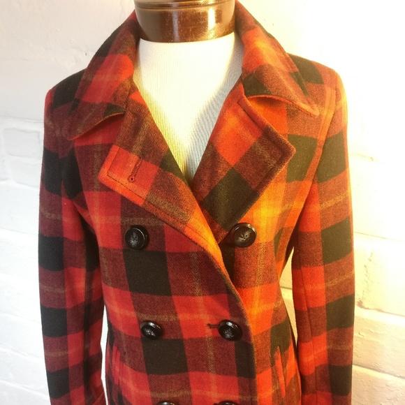 Old Navy Jackets & Blazers - Old Navy Red & Black Plaid Wool Blend Pea Coat